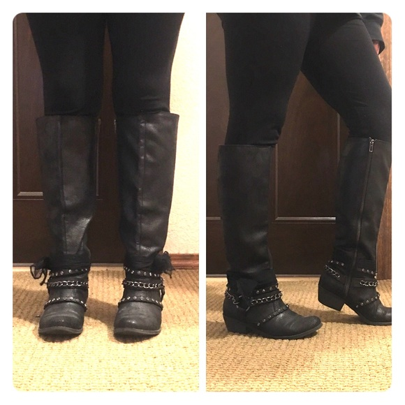 02c741b427bf Francesca s Collections Shoes - Cute Knee High Boots With Studs And Gems